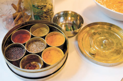 traditional indian masala dabba spice tray